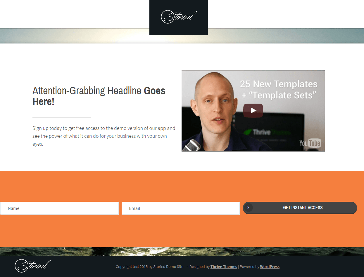 Storied- Video lead generating page layout