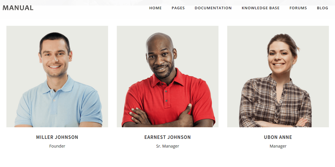 Team page of Manual
