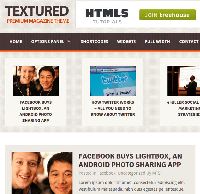 Texured homepage