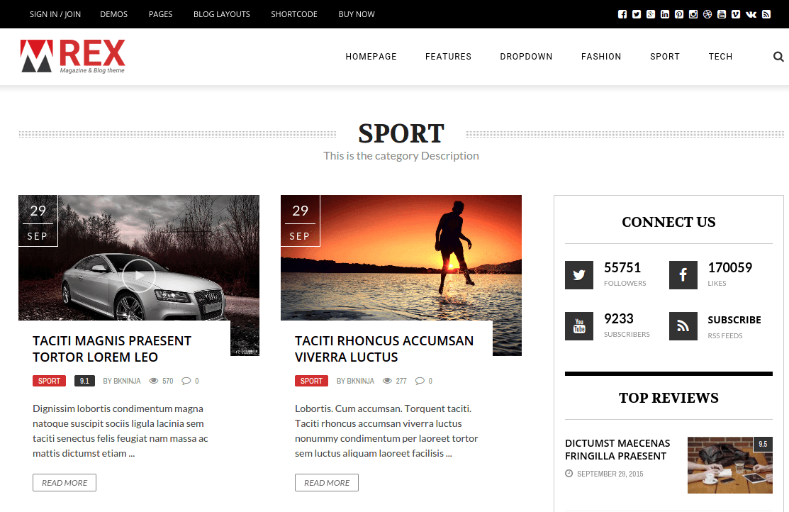 The REX Sport Page