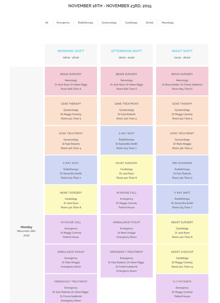 Timetable Page on Medical