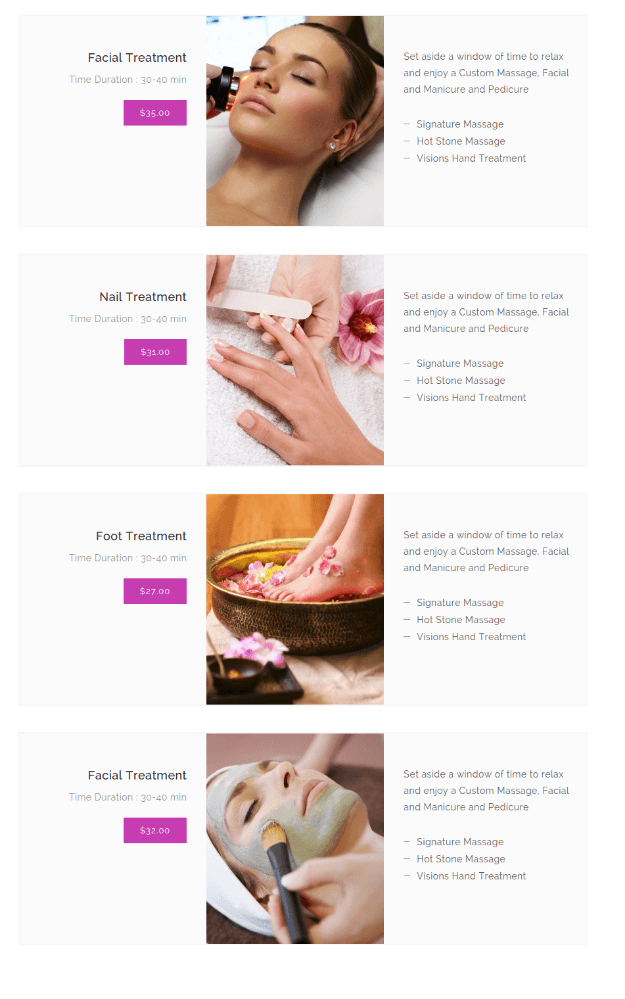 Treatments Page of Avique