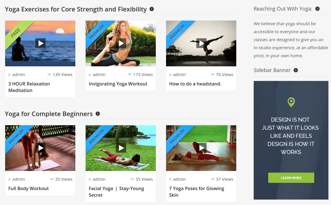Video Member Yoga Exercises Section