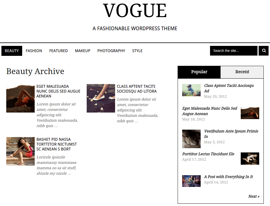 Vogue Beauty Page