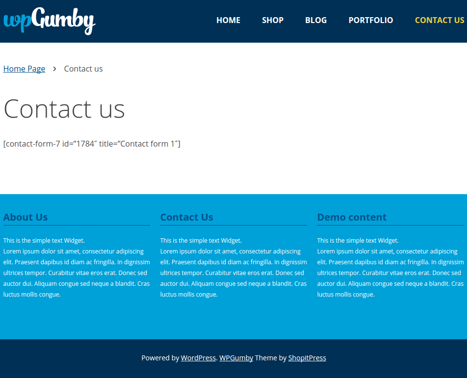 WPGumby Contact Us Page