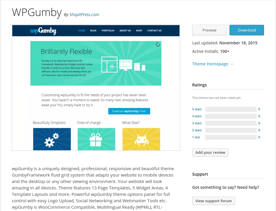 WPGumby WordPress Page