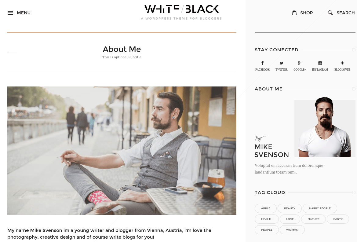 WhiteBlack About Me Page