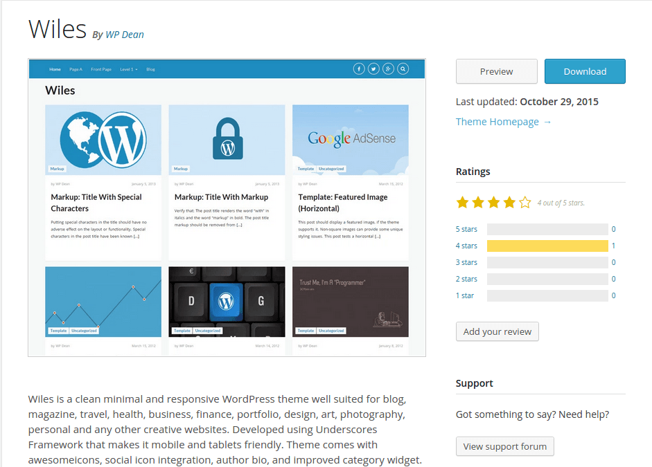Wiles WordPress Page