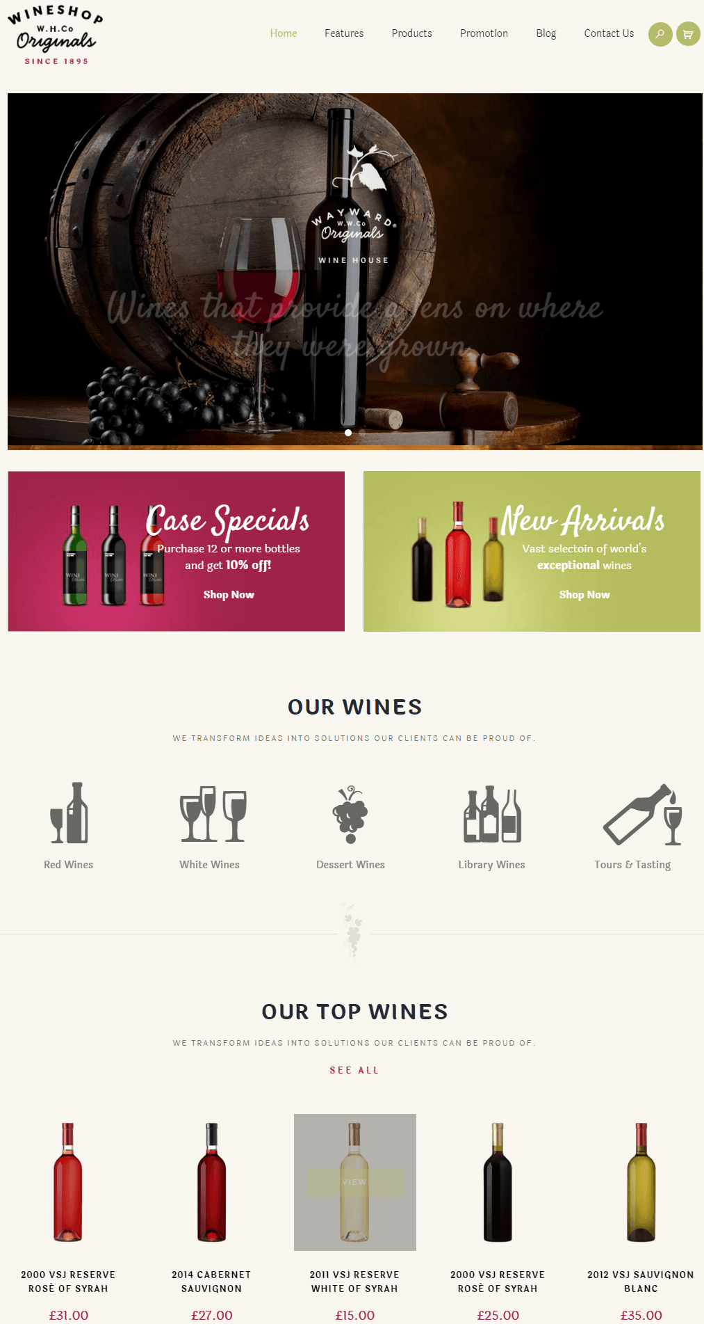 WineShop- Another front page layout