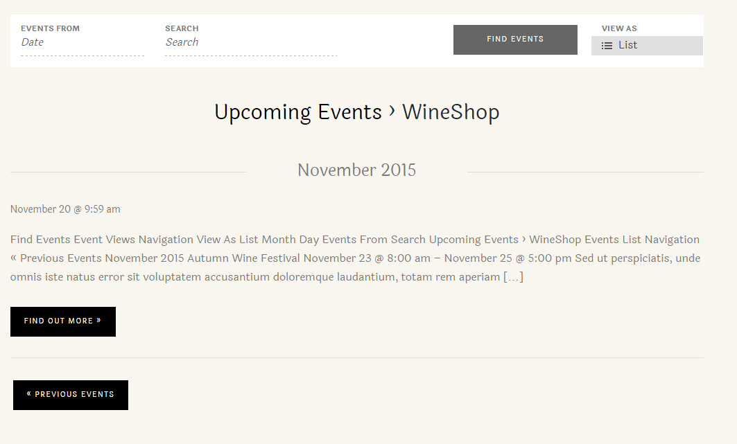 WineShop- Events page