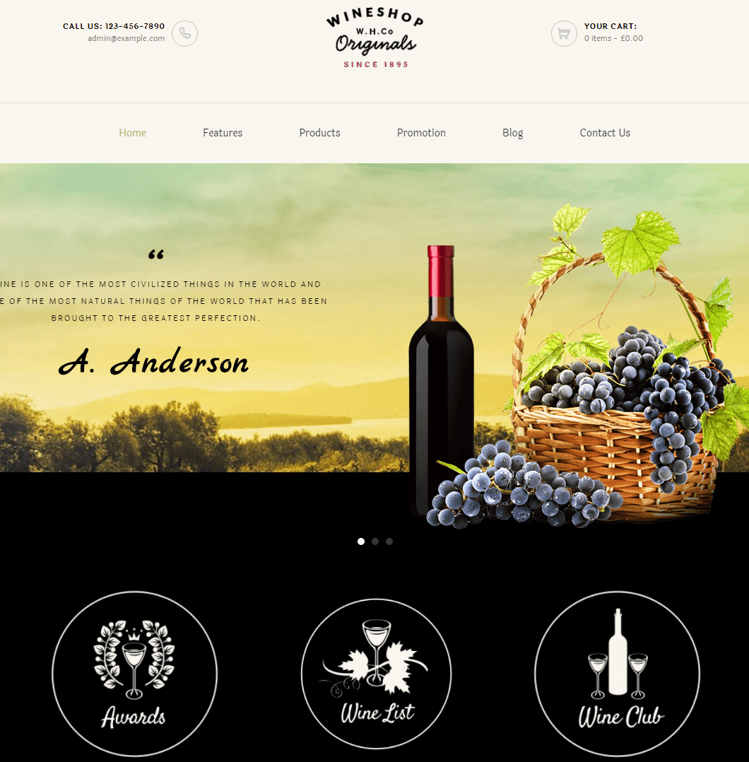 WineShop- Front page featured with slider