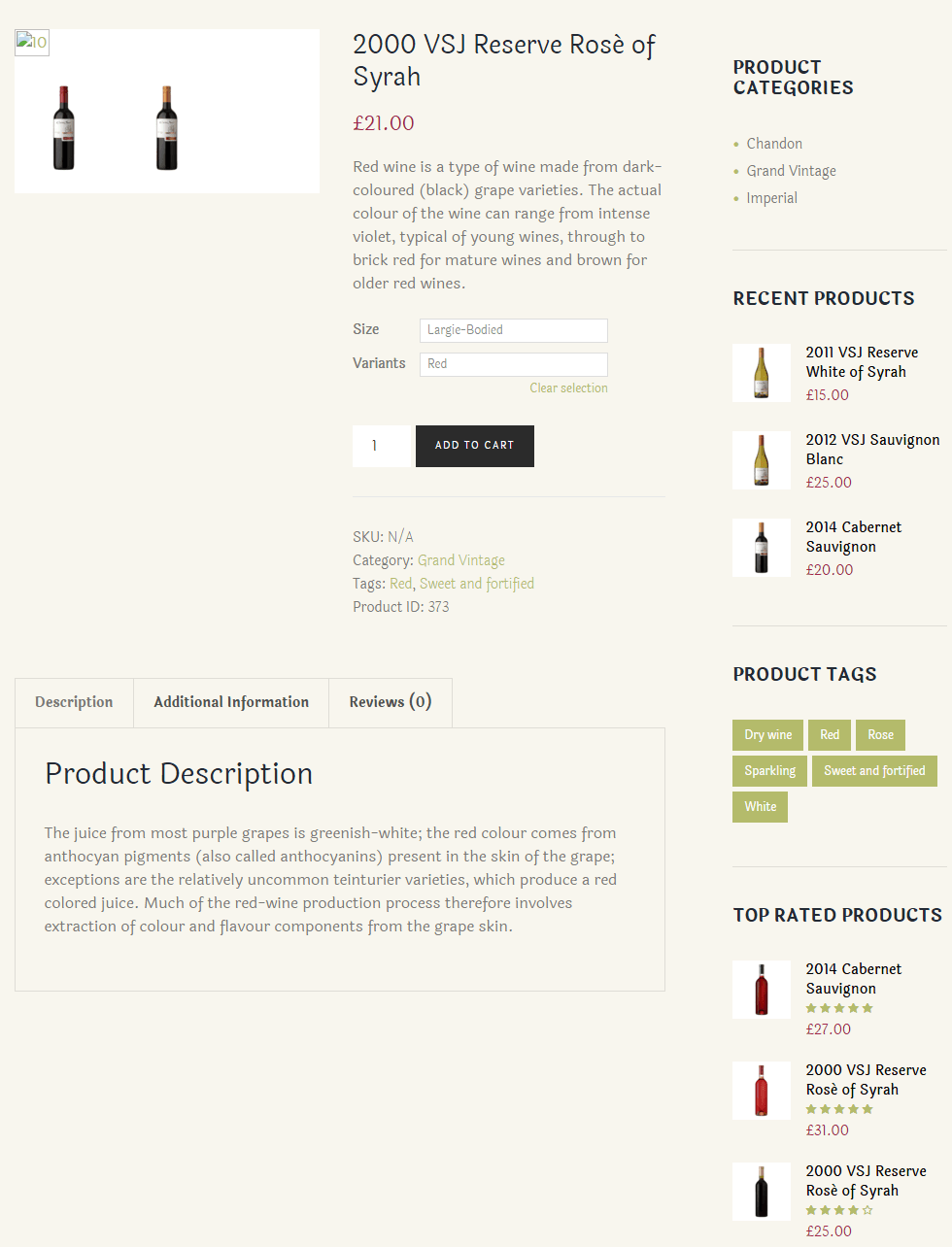 WineShop- Single product page