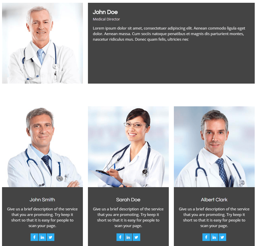 clinique- Doctors Team page