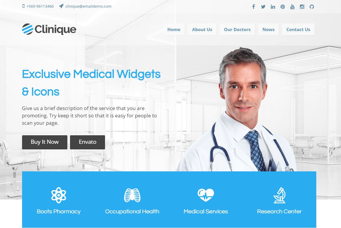 clinique- Front page featured with slider