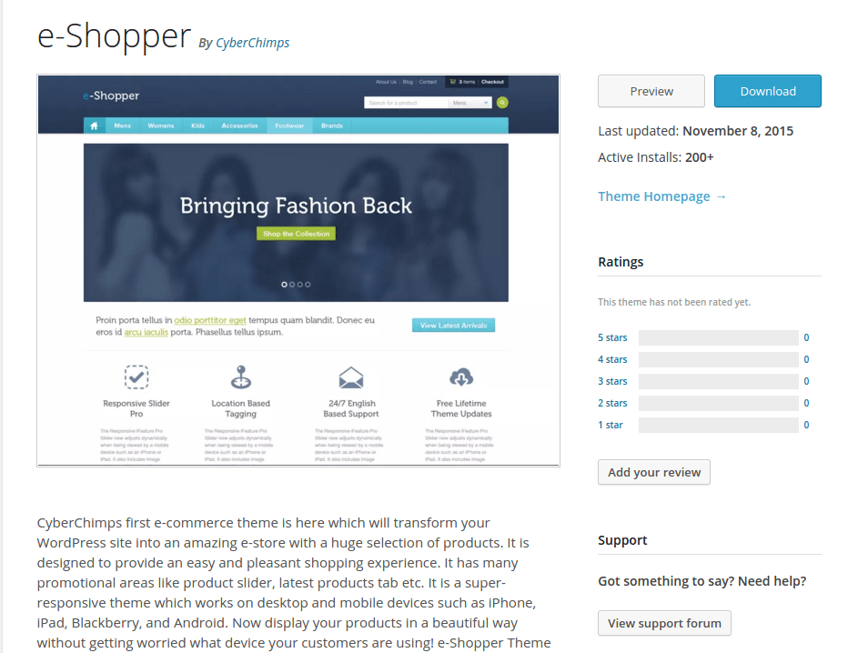 e-Shopper WordPress Page