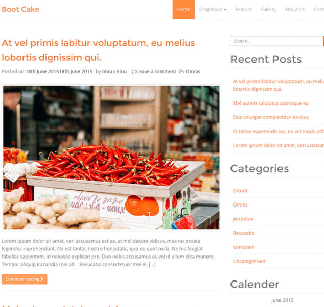 Bootcake WordPress theme for blogging with bootstrap