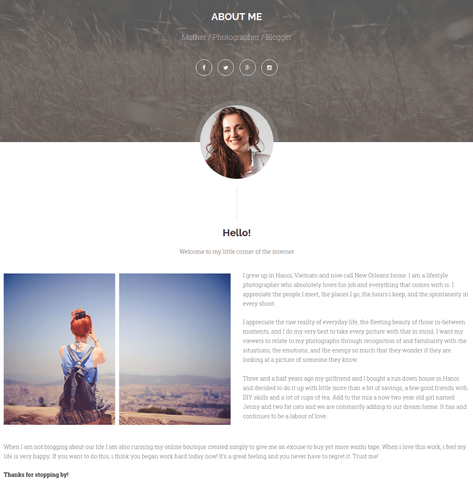 About Me Page - Ri Twoblog