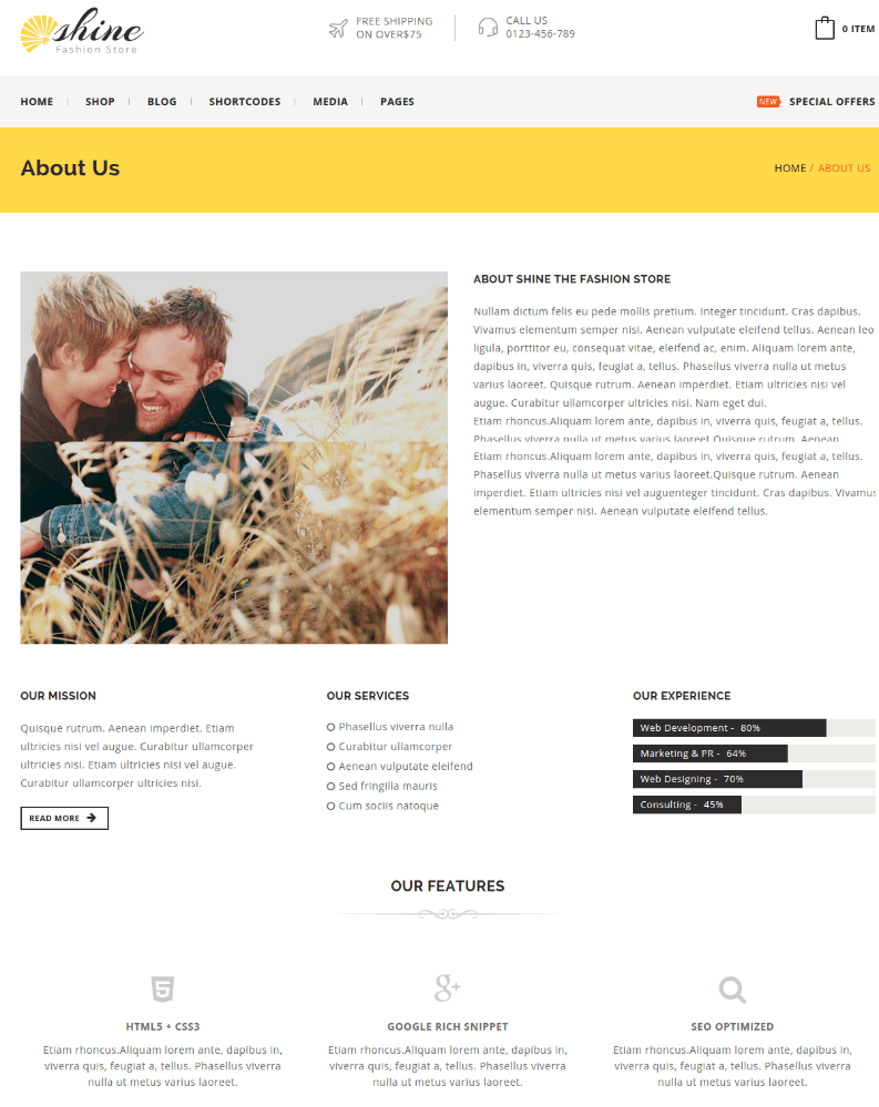 About Us Page - Shine