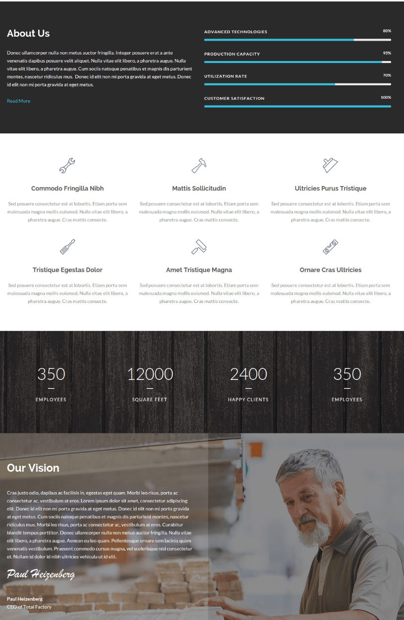 About Us Page - Total Business