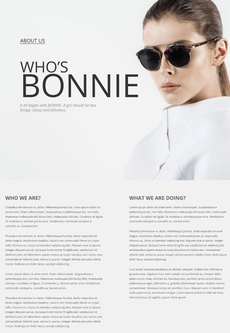 About Us Page - VG Bonnie