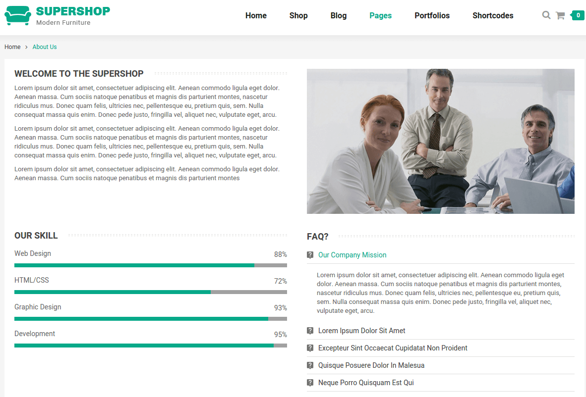 About Us Page of Supershop