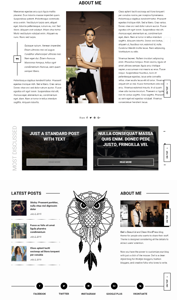 About me page of Owl theme