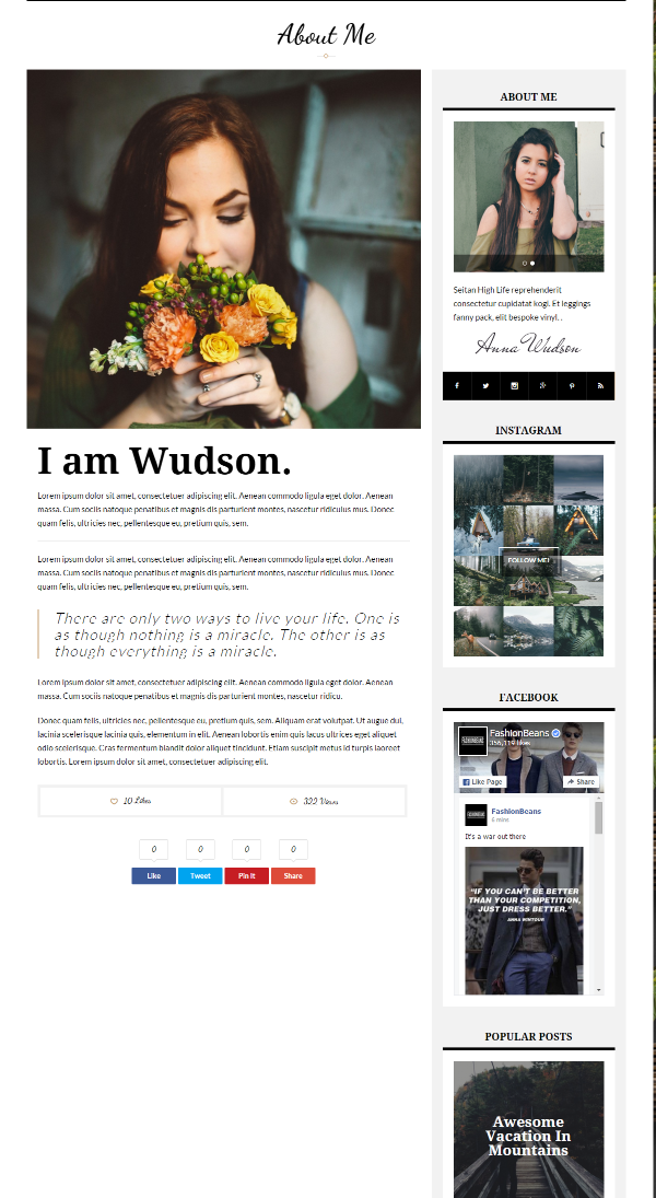 About me page of Wudson theme