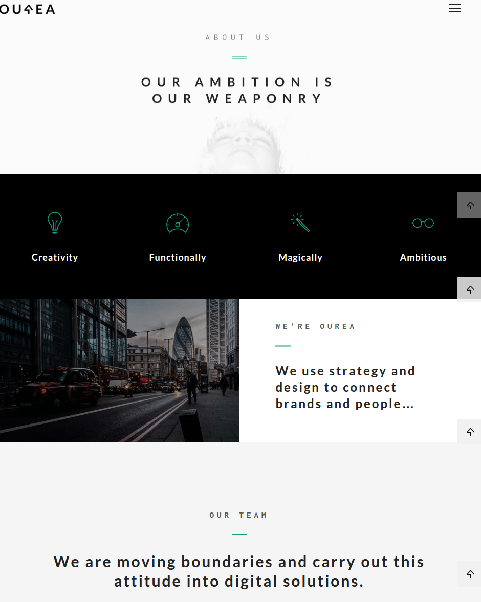 About page and team of Ourea theme