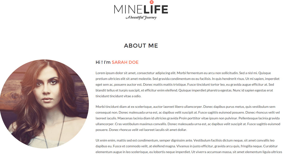 About page of Minelife