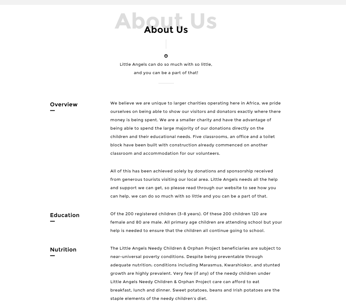 About us page of Angel theme