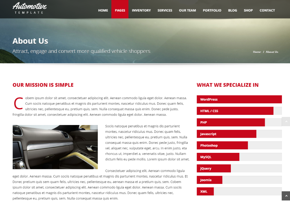About us page of Automotive car dealership WordPress theme.