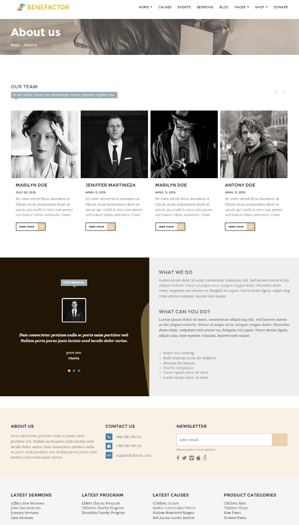 About us page of Benefactor theme