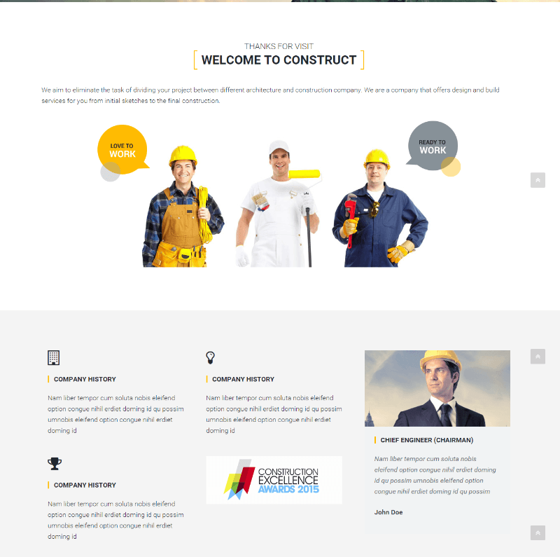 About us page of Construct WP theme