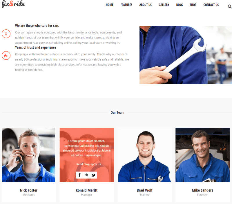 About us page of Fix and Ride theme