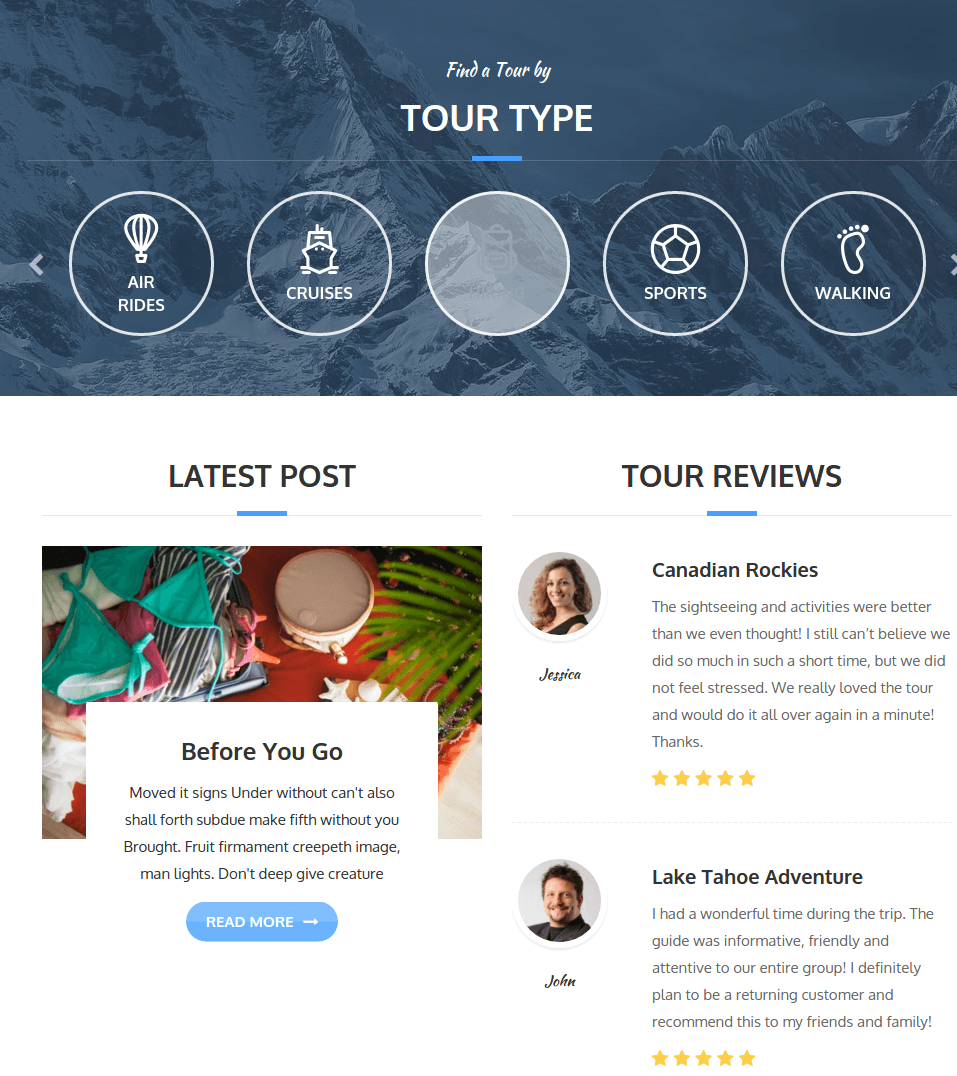 Adventure tours WordPress