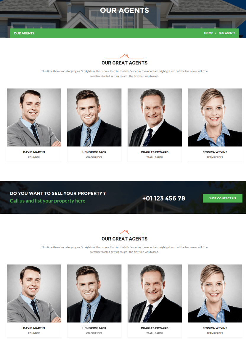 Agent Page of Realtor