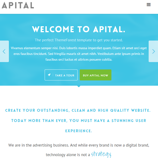 Apital - Responsive Business WordPress theme.