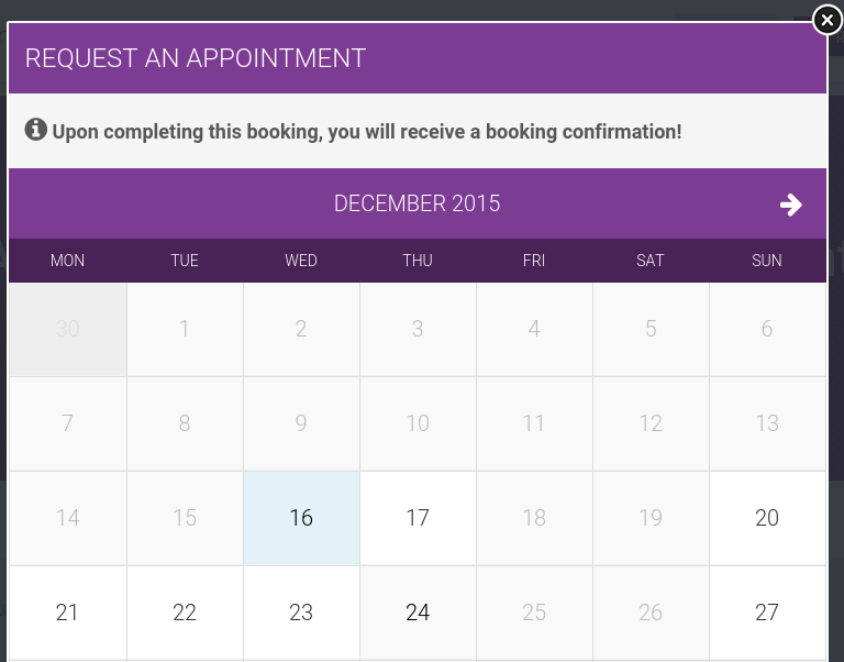 Appointment popup of Wellnesscenter
