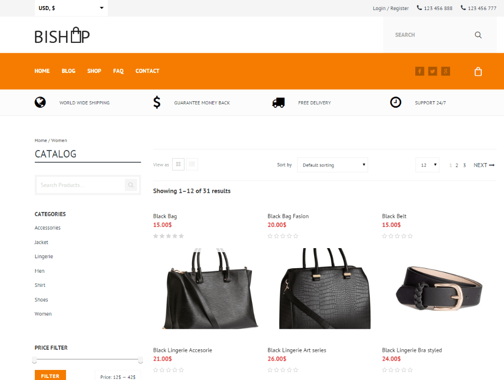 Bishop -Shop page (Woman category)