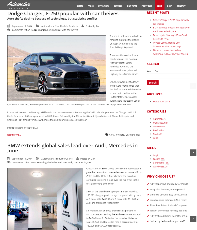Blog page of Automotive car dealership theme.