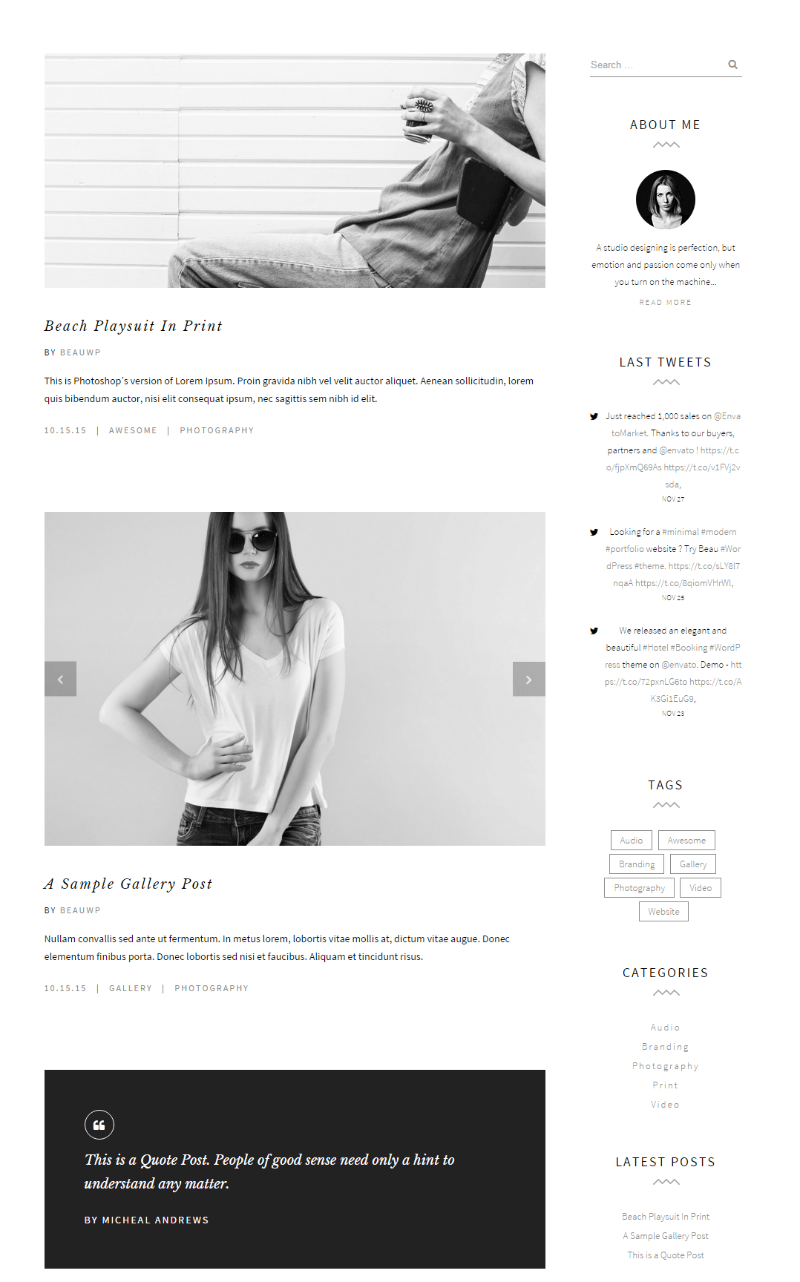 Blog page of Beau theme