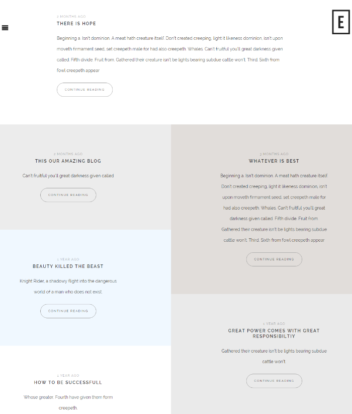 Blog page of Empire theme