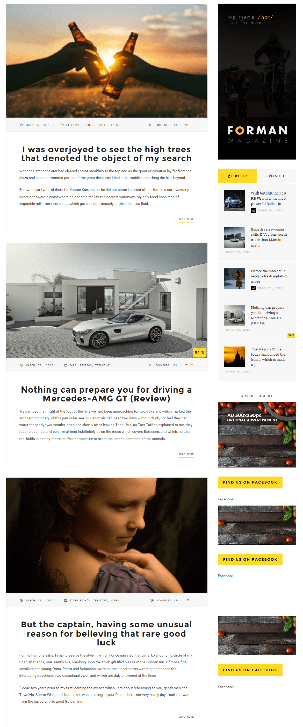 Blog page of Forman theme