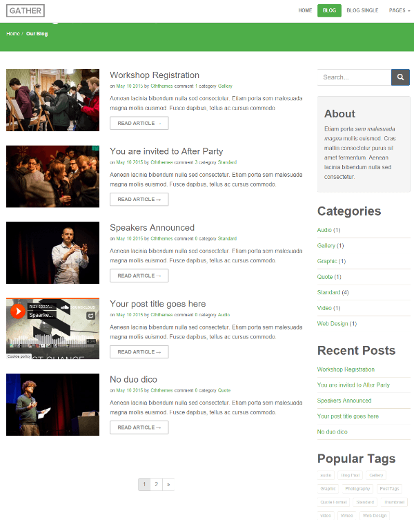 Blog page of Gather theme