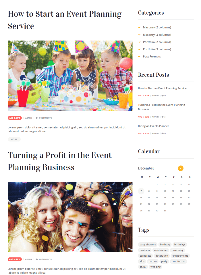 Blog page of Unica theme