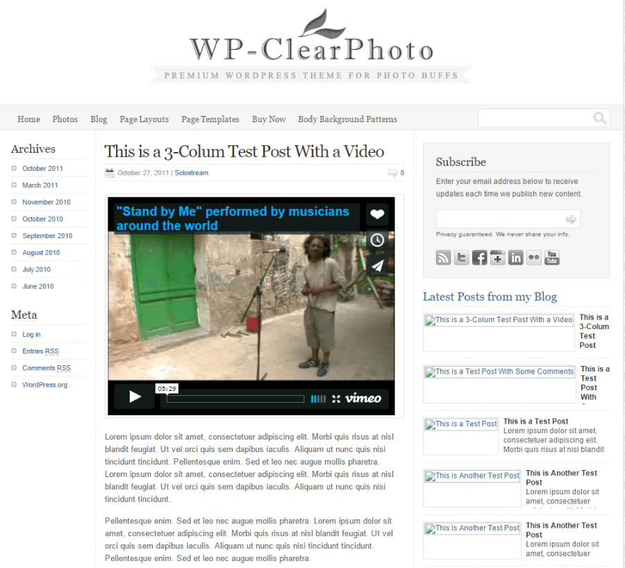 Blog page of WP-Clear photo theme