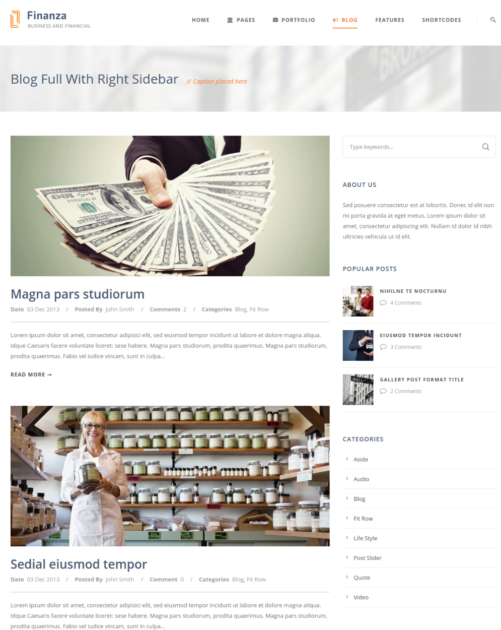 Blog with right sidebar - Finanza