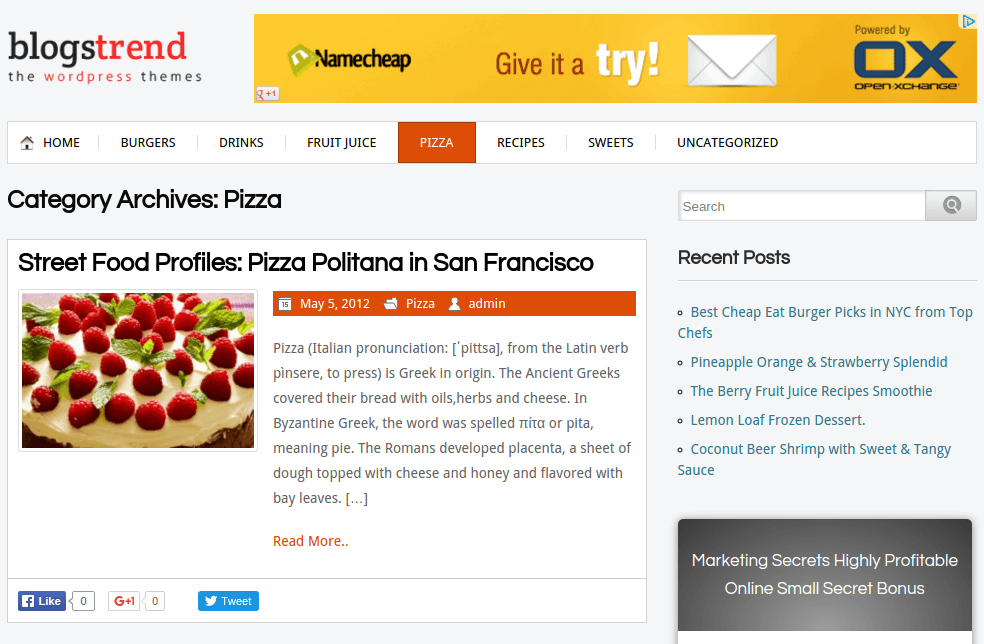 BlogsTrend Pizza Page