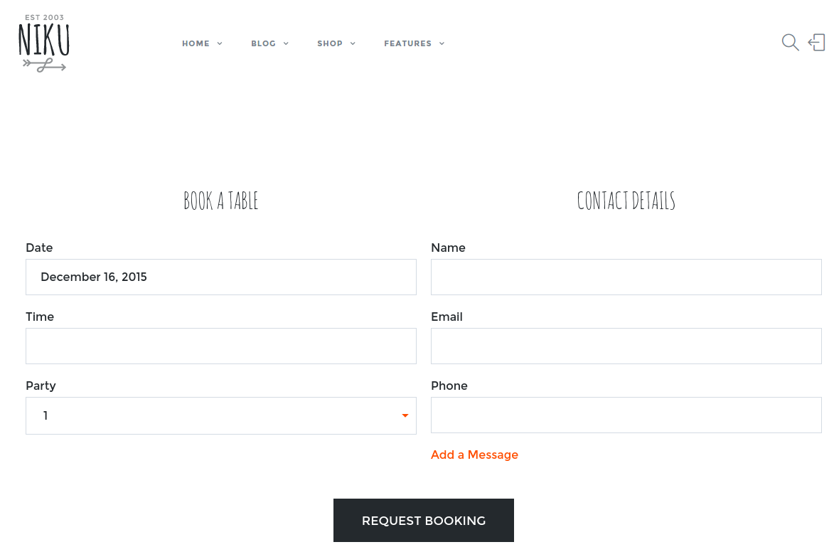 Booking Page of FlyCoffee