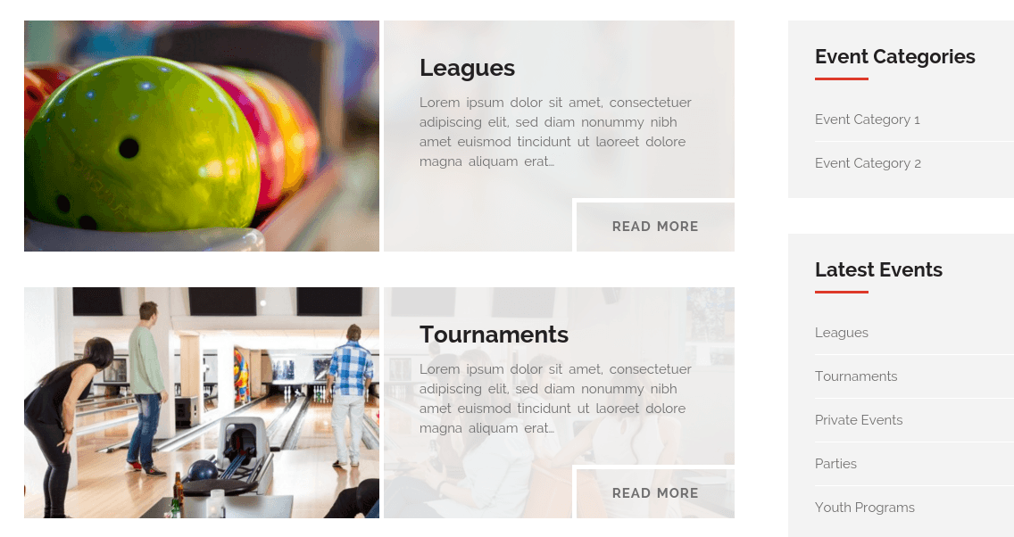 Bowl Events Page